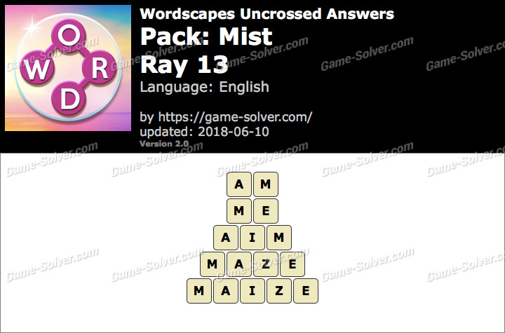 Wordscapes Uncrossed Mist-Ray 13 Answers