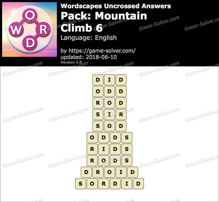 Wordscapes Uncrossed Mountain-Climb 6 Answers