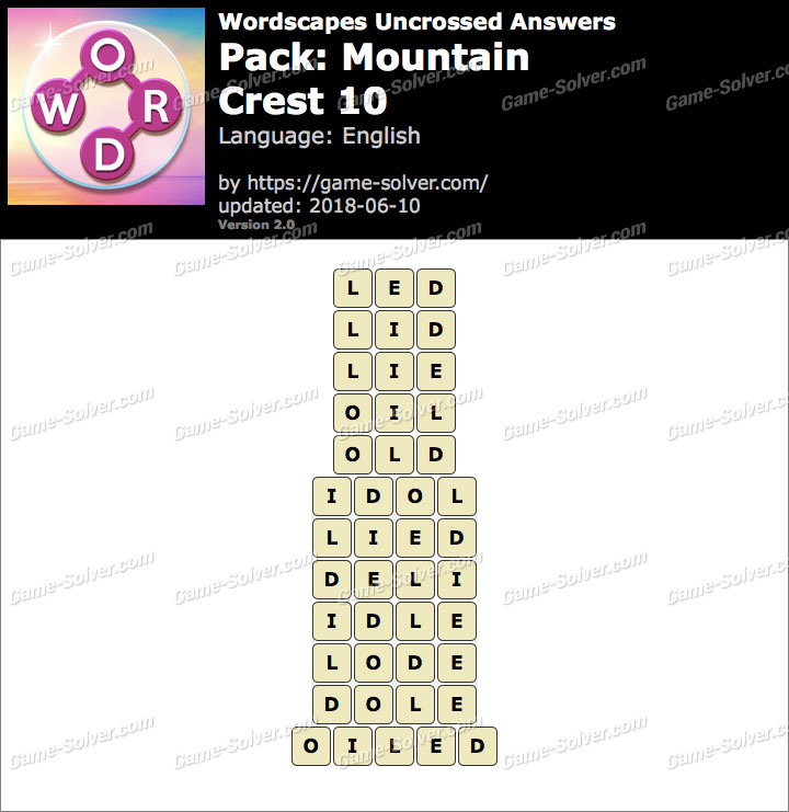 Wordscapes Uncrossed Mountain-Crest 10 Answers