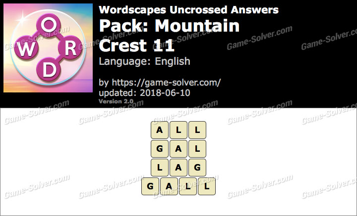 Wordscapes Uncrossed Mountain-Crest 11 Answers