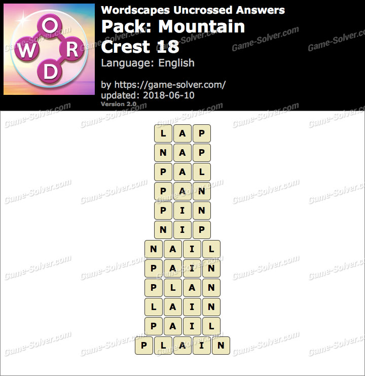 Wordscapes Uncrossed Mountain-Crest 18 Answers