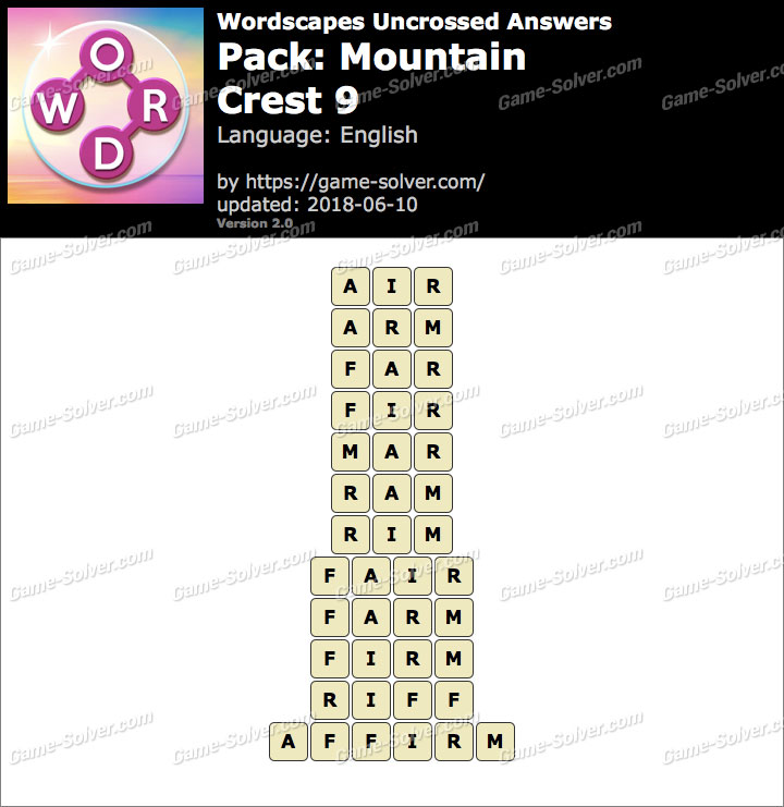 Wordscapes Uncrossed Mountain-Crest 9 Answers