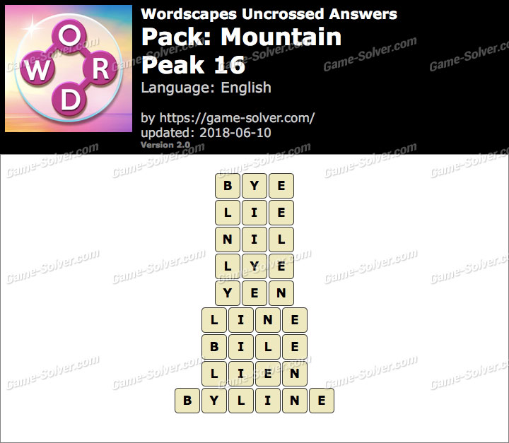 Wordscapes Uncrossed Mountain-Peak 16 Answers