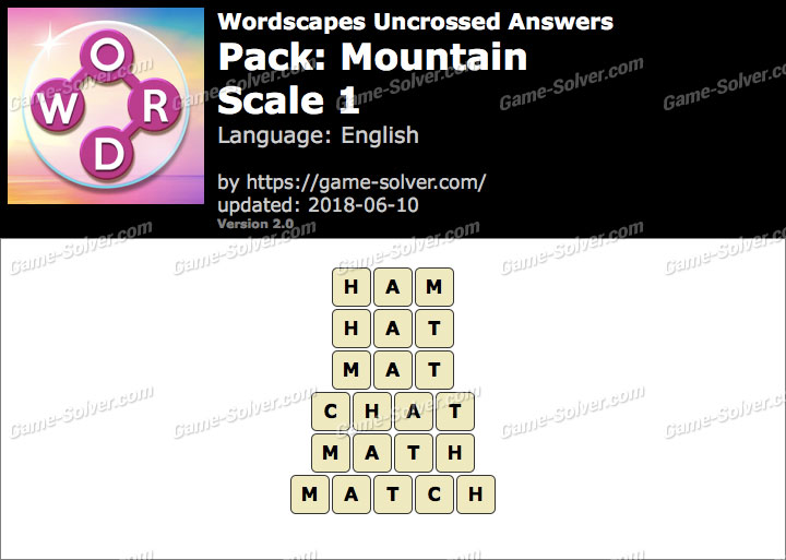 Wordscapes Uncrossed Mountain-Scale 1 Answers