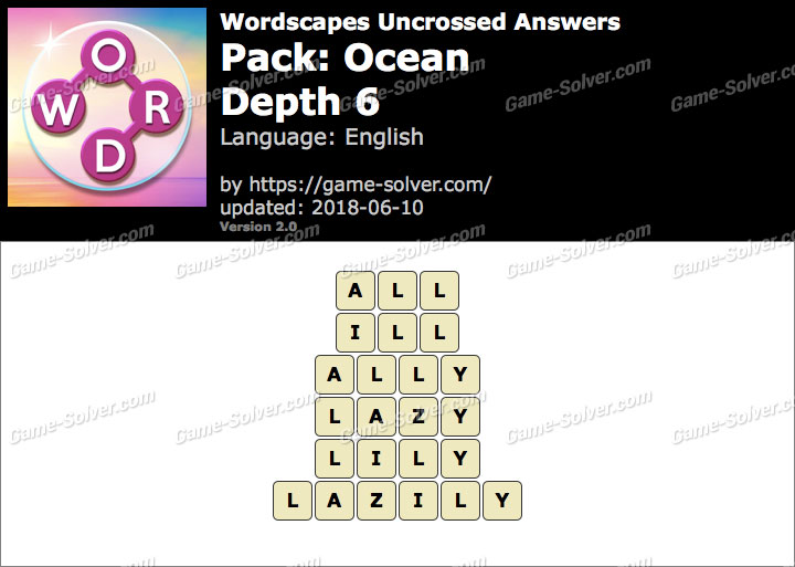Wordscapes Uncrossed Ocean-Depth 6 Answers
