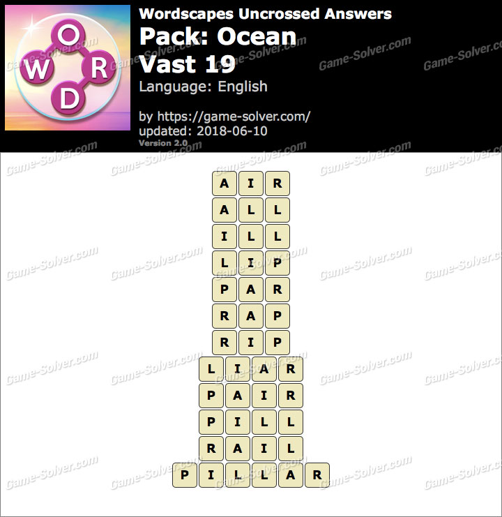 Wordscapes Uncrossed Ocean-Vast 19 Answers