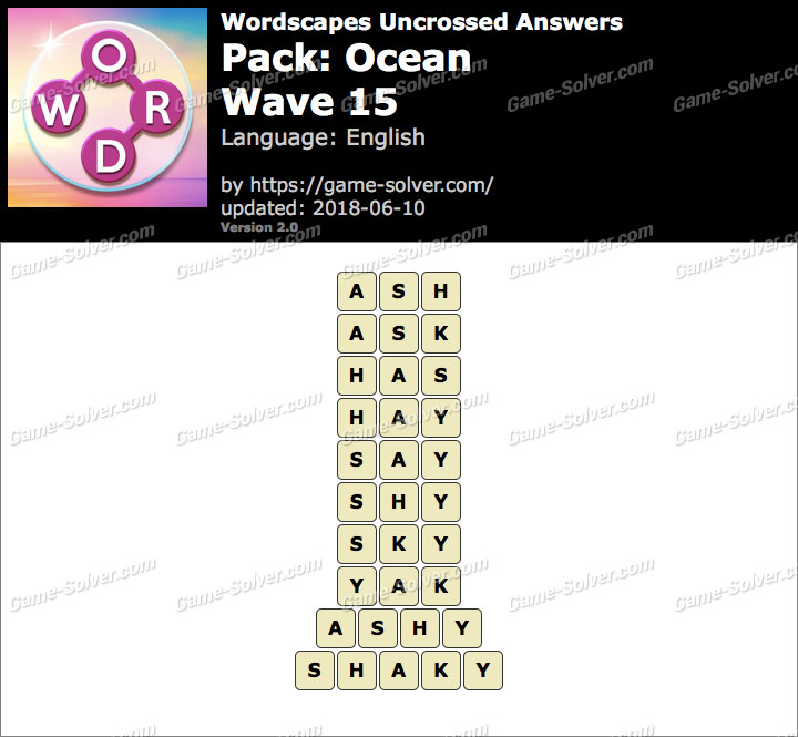 Wordscapes Uncrossed Ocean-Wave 15 Answers