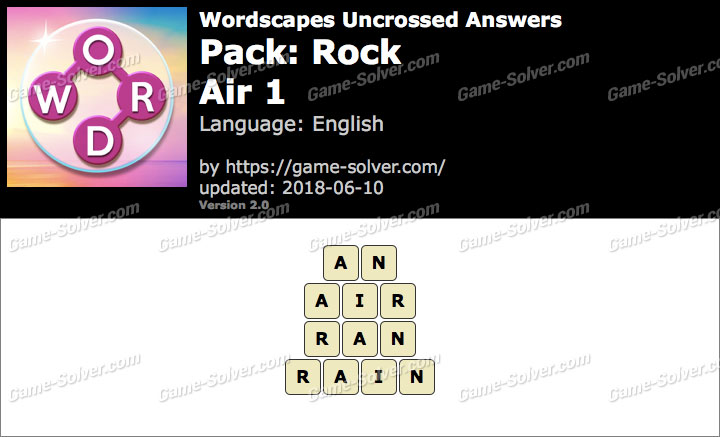 Wordscapes Uncrossed Rock-Air 1 Answers