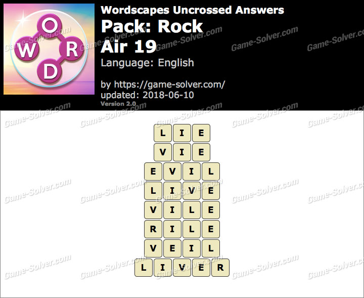 Wordscapes Uncrossed Rock-Air 19 Answers