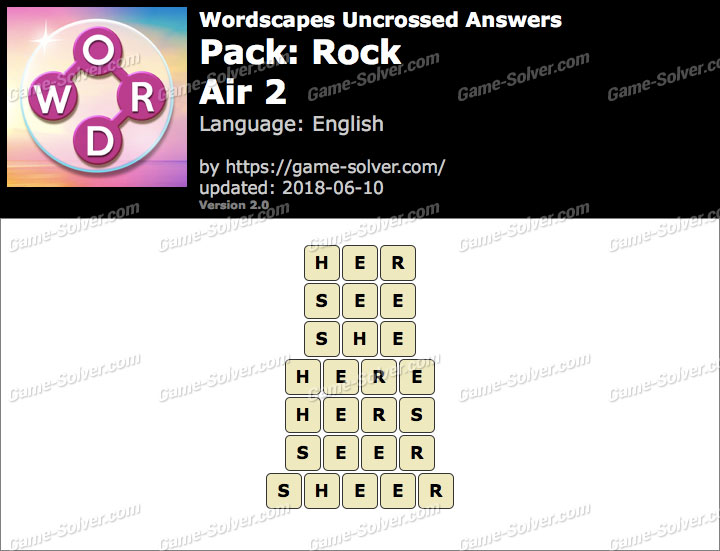 Wordscapes Uncrossed Rock-Air 2 Answers