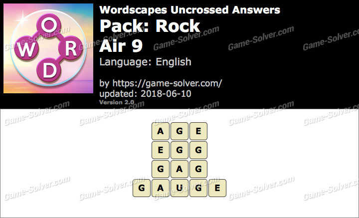 Wordscapes Uncrossed Rock-Air 9 Answers