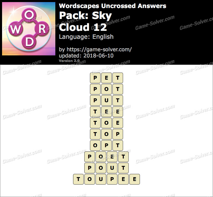 Wordscapes Uncrossed Sky-Cloud 12 Answers