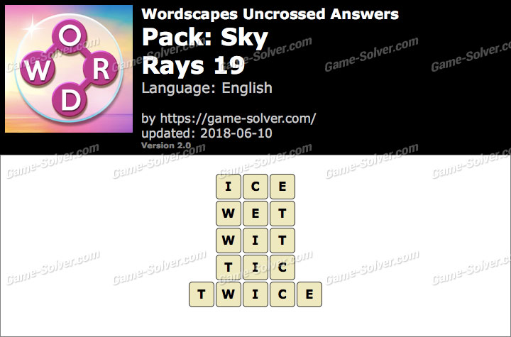 Wordscapes Uncrossed Sky-Rays 19 Answers