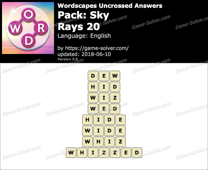 Wordscapes Uncrossed Sky-Rays 20 Answers