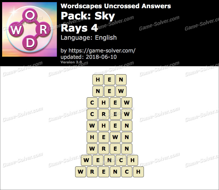 Wordscapes Uncrossed Sky-Rays 4 Answers