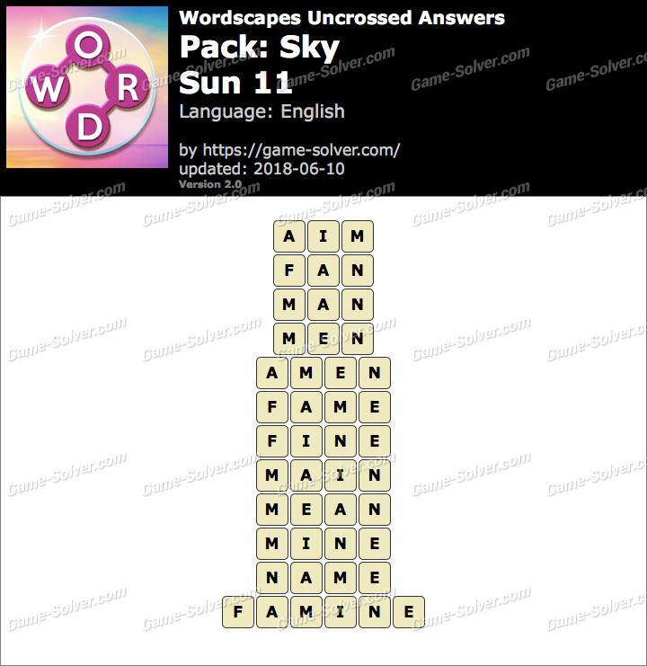 Wordscapes Uncrossed Sky-Sun 11 Answers