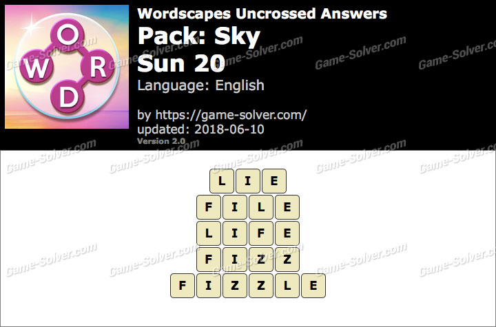 Wordscapes Uncrossed Sky-Sun 20 Answers