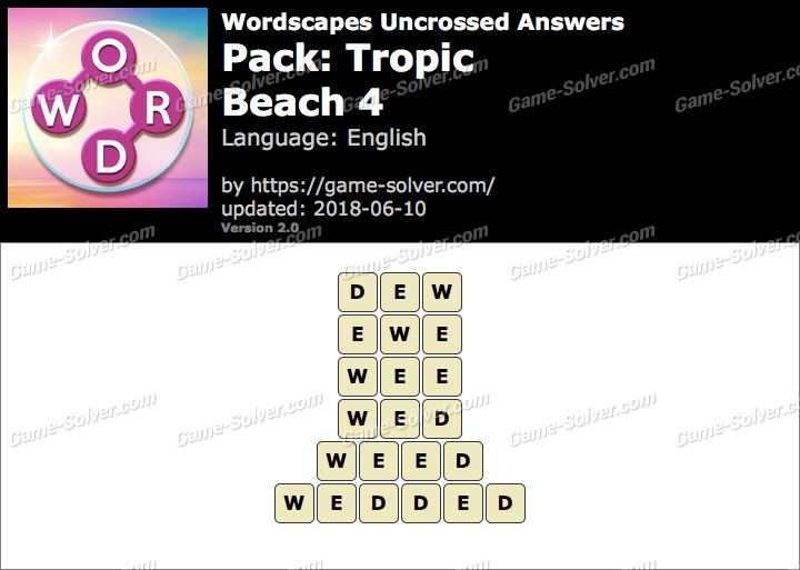 Wordscapes Uncrossed Tropic-Beach 4 Answers