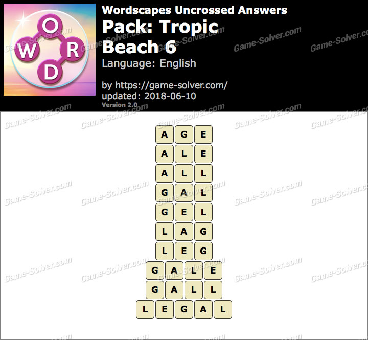 Wordscapes Uncrossed Tropic-Beach 6 Answers