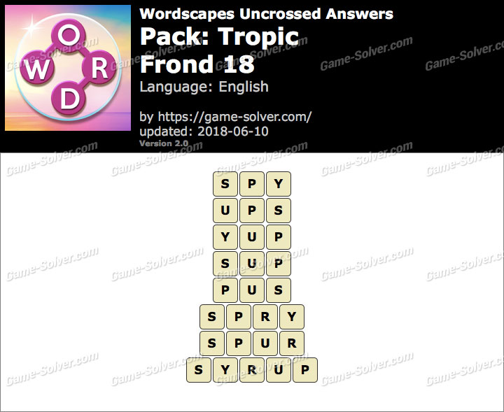 Wordscapes Uncrossed Tropic-Frond 18 Answers