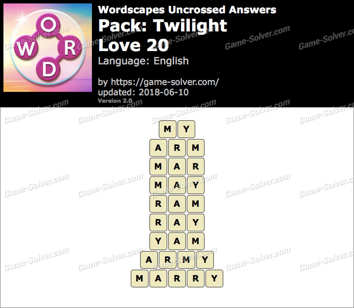 Wordscapes Uncrossed Twilight-Love 20 Answers