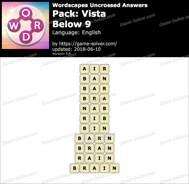 Wordscapes Uncrossed Vista-Below 9 Answers