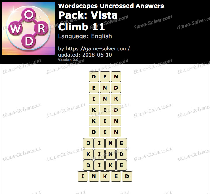 Wordscapes Uncrossed Vista-Climb 11 Answers