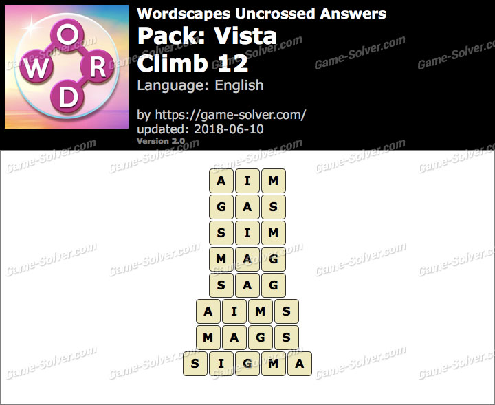 Wordscapes Uncrossed Vista-Climb 12 Answers