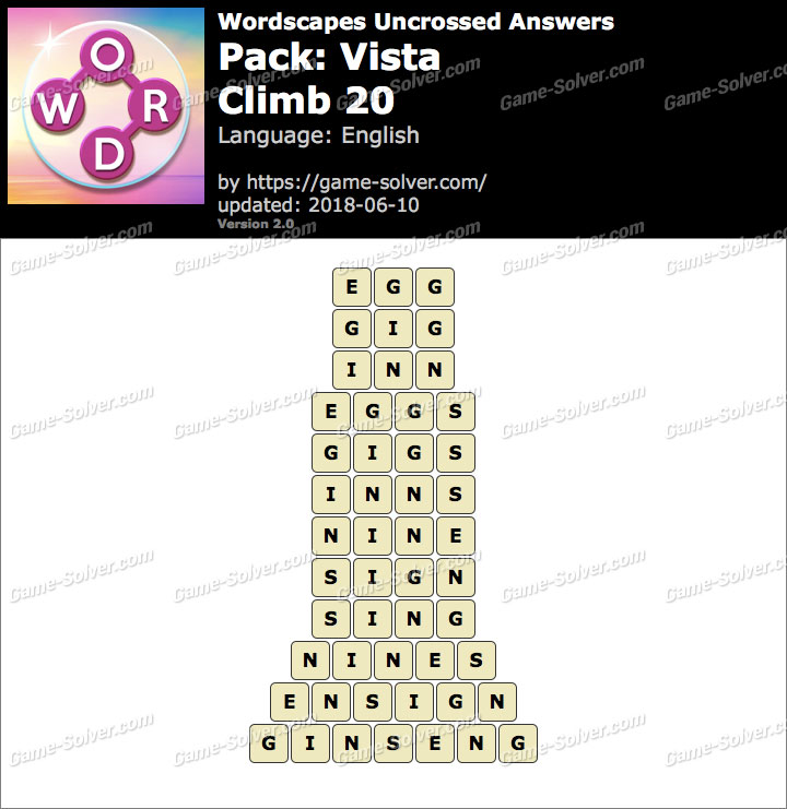 Wordscapes Uncrossed Vista-Climb 20 Answers