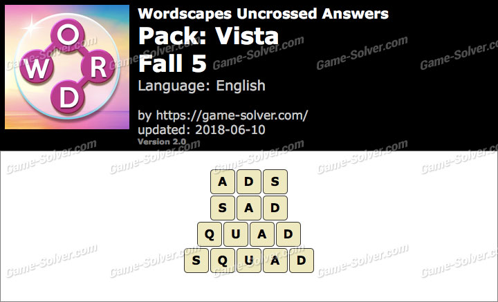 Wordscapes Uncrossed Vista-Fall 5 Answers