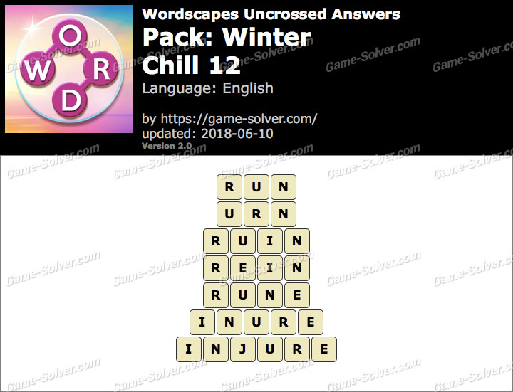 Wordscapes Uncrossed Winter-Chill 12 Answers