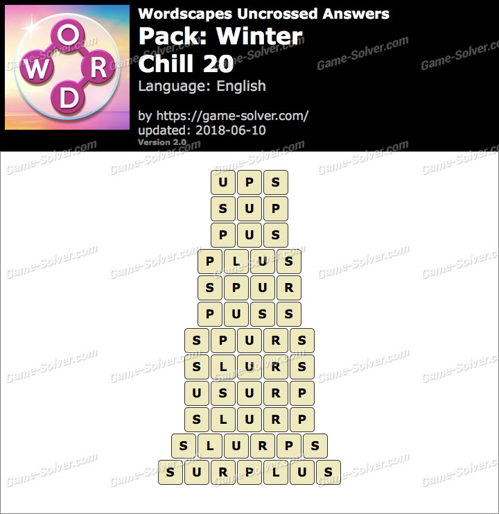 Wordscapes Uncrossed Winter-Chill 20 Answers