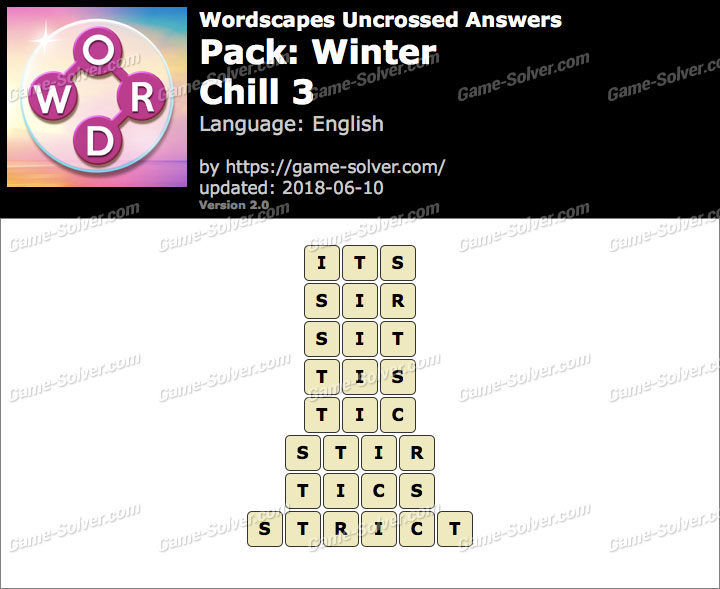 Wordscapes Uncrossed Winter-Chill 3 Answers