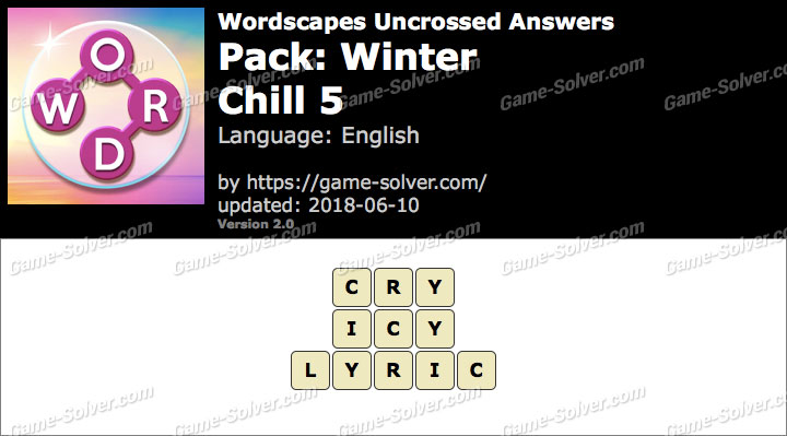Wordscapes Uncrossed Winter-Chill 5 Answers