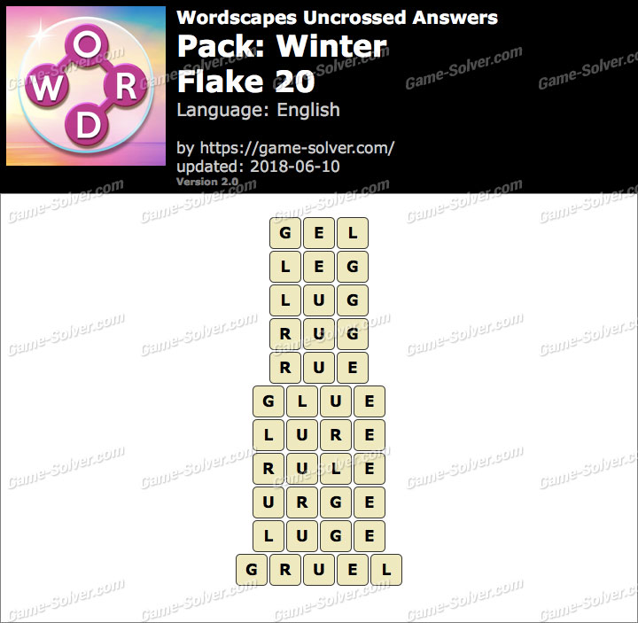 Wordscapes Uncrossed Winter-Flake 20 Answers