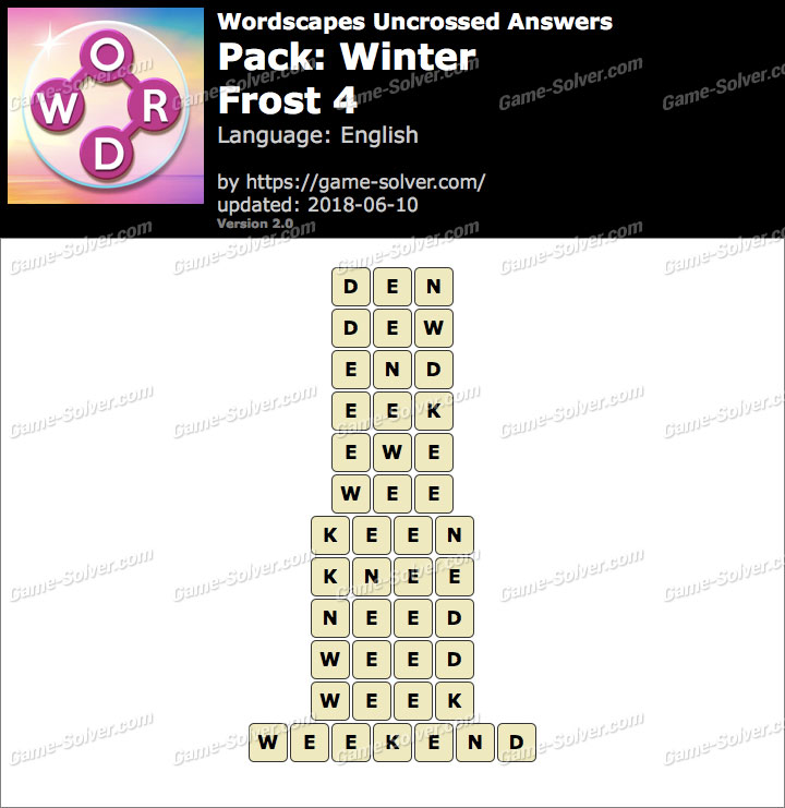 Wordscapes Uncrossed Winter-Frost 4 Answers