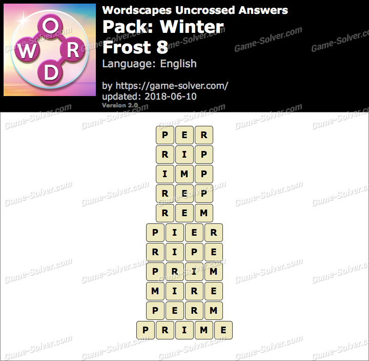Wordscapes Uncrossed Winter-Frost 8 Answers