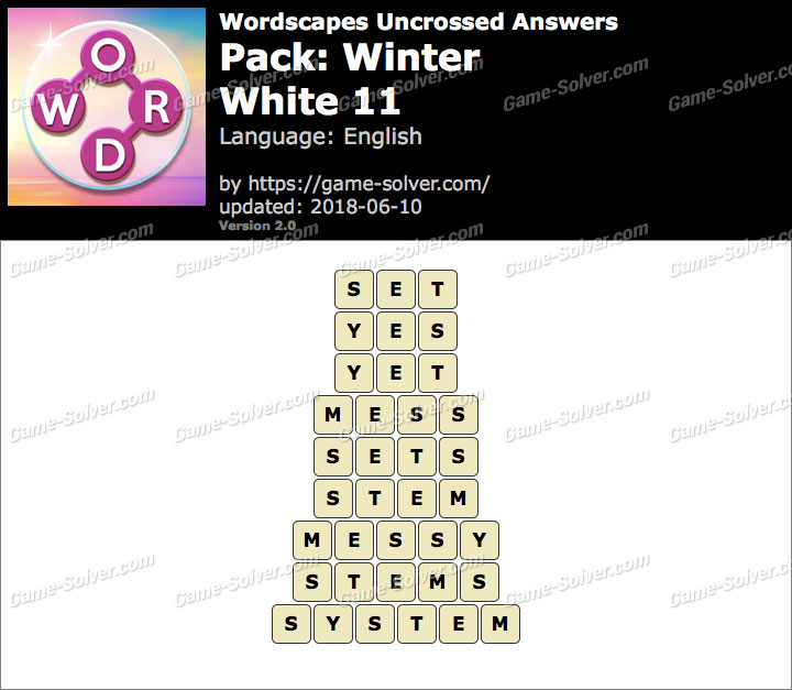 Wordscapes Uncrossed Winter-White 11 Answers