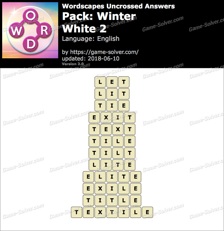 Wordscapes Uncrossed Winter-White 2 Answers