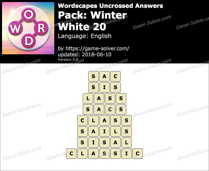 Wordscapes Uncrossed Winter-White 20 Answers