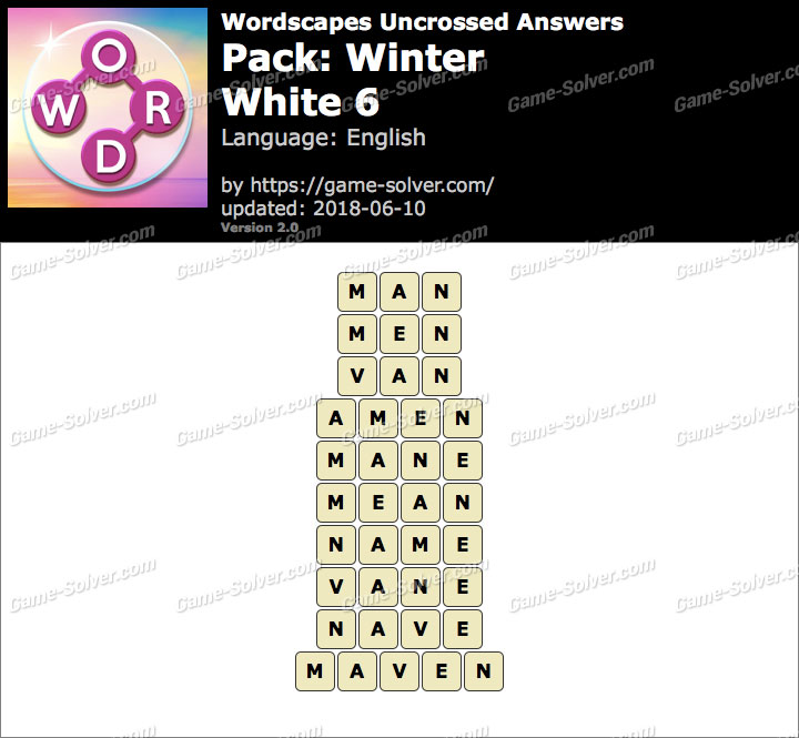 Wordscapes Uncrossed Winter-White 6 Answers
