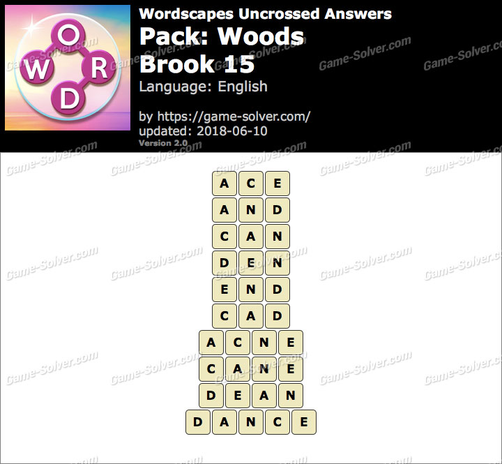Wordscapes Uncrossed Woods-Brook 15 Answers