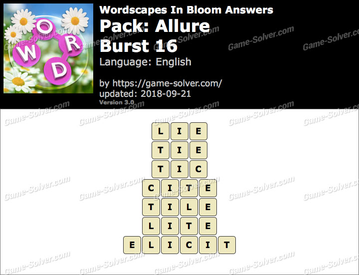 Wordscapes In Bloom Allure-Burst 16 Answers