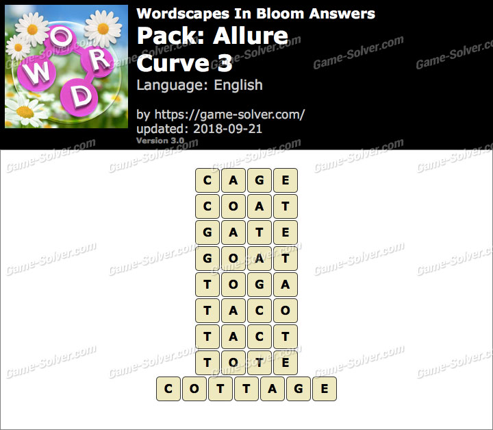 Wordscapes In Bloom Allure-Curve 3 Answers