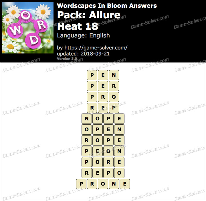 Wordscapes In Bloom Allure-Heat 18 Answers