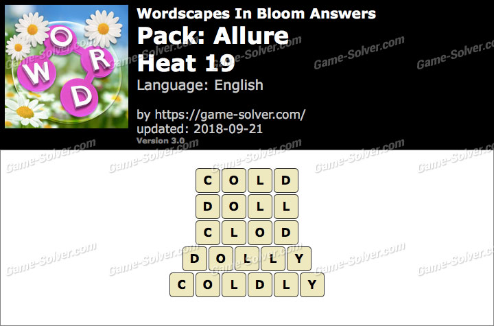 Wordscapes In Bloom Allure-Heat 19 Answers