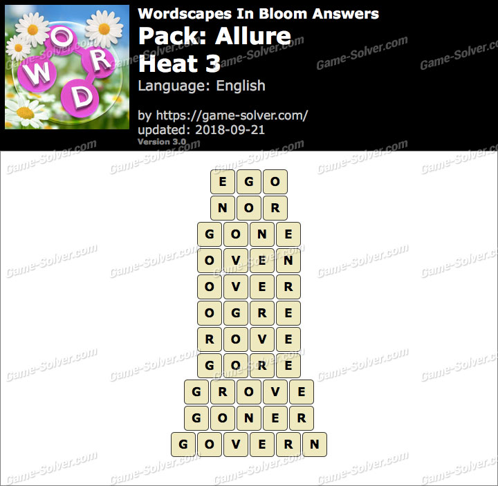 Wordscapes In Bloom Allure-Heat 3 Answers