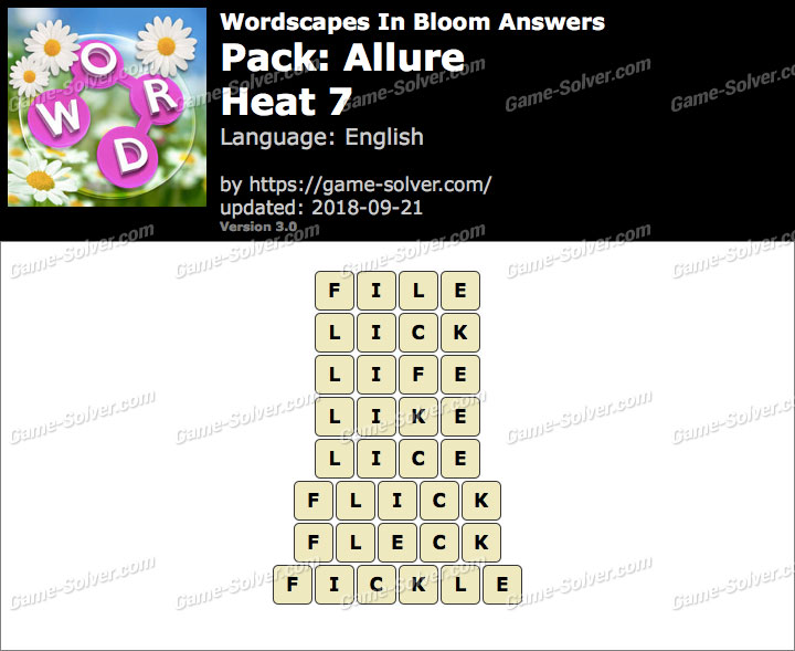 Wordscapes In Bloom Allure-Heat 7 Answers