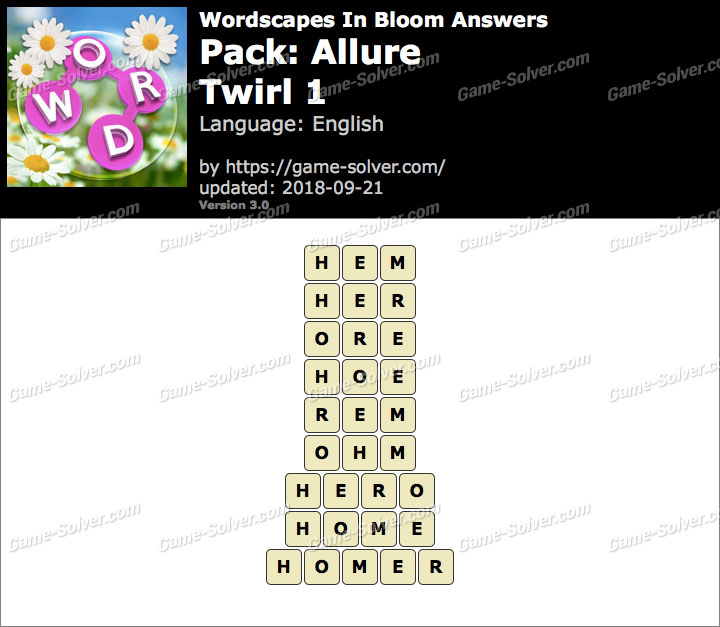 Wordscapes In Bloom Allure-Twirl 1 Answers