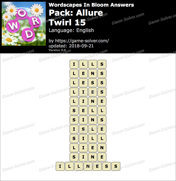 Wordscapes In Bloom Allure-Twirl 15 Answers